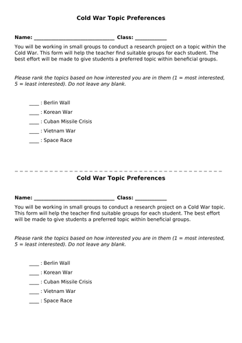 Cold War Topics Research Project