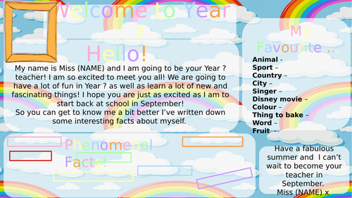 Meet the Teacher - Get to know me editable template