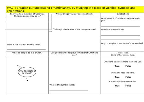 Christianity Worksheet