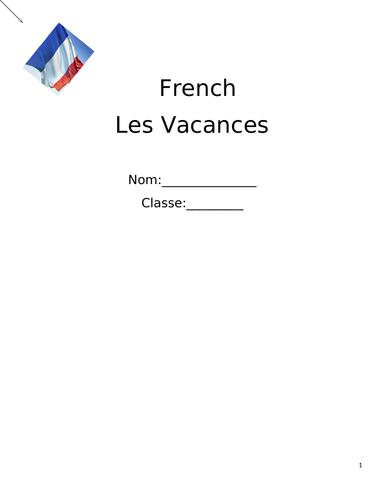 French GCSE revision booklet - Les Vacances