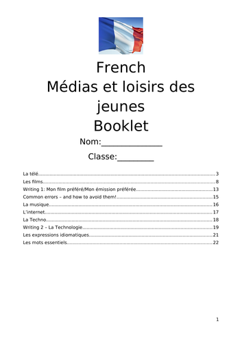 French GCSE revision resource - Media and Leisure Activities