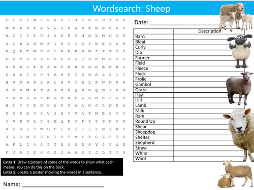 Sheep #2 Wordsearch Puzzle Sheet Keywords Settler Starter Cover Lesson Farm Animals