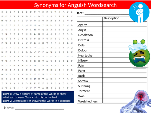 Synonyms Anguish Wordsearch Starter Settler Activity Homework Cover Lesson English Language