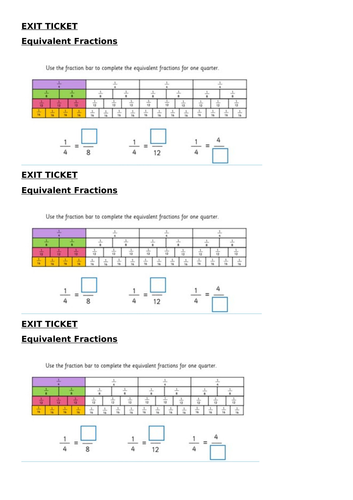 Fractions Year 4 - Exit Tickets