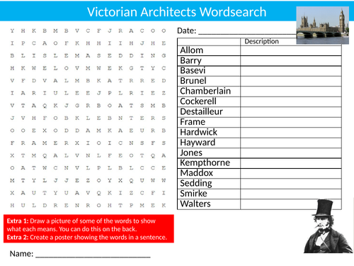 6 x Architecture Wordsearch Starter Settler Activity Homework Cover Lesson Design Architects