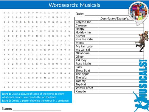6 x Musicals Wordsearch Starter Settler Activity Homework Cover Lesson Drama Music