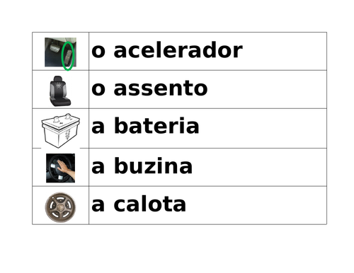 Car Parts in Portuguese Word Wall