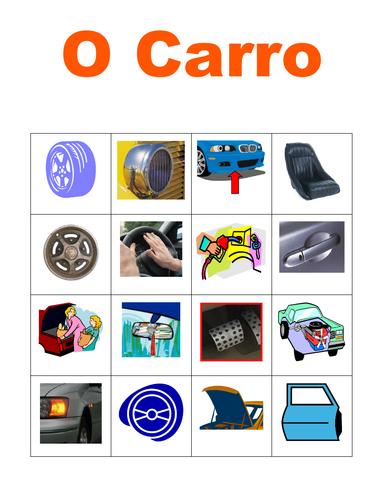 Car Parts in Portuguese Bingo