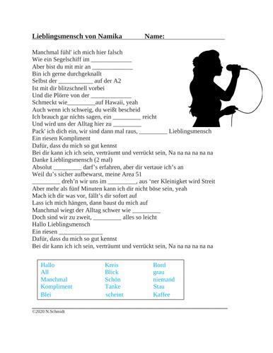 German Song Activity: Lieblingsmensch von Namika mit Biografie (SUB PLAN)