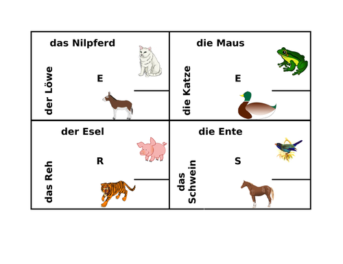 Tiere (Animals in German) 4 by 4