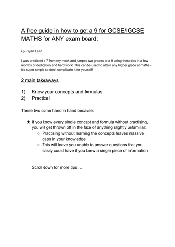 Guide to a Grade 9 GCSE MATHS ANY EXAM BOARD