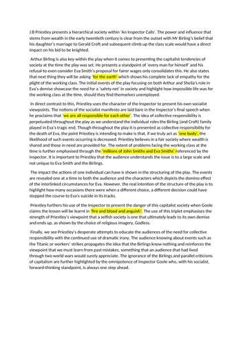 An Inspector Calls: Grade 9 Sample Essay