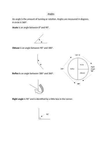 Acute, obtuse and reflex worksheets
