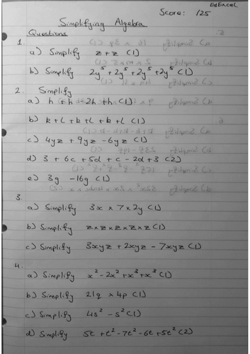 Simplifying Algebra 9-1 GCSE Worksheet & Answers