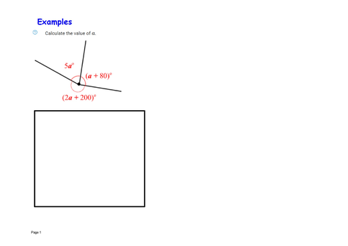Forming and solving angles about a point