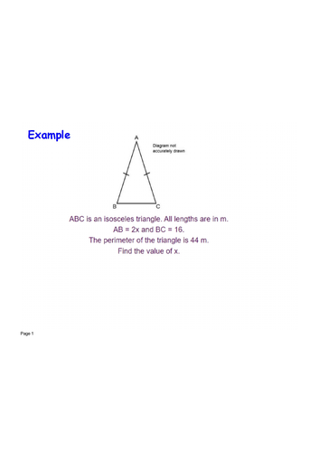Forming and solving isosceles triangle perimeter