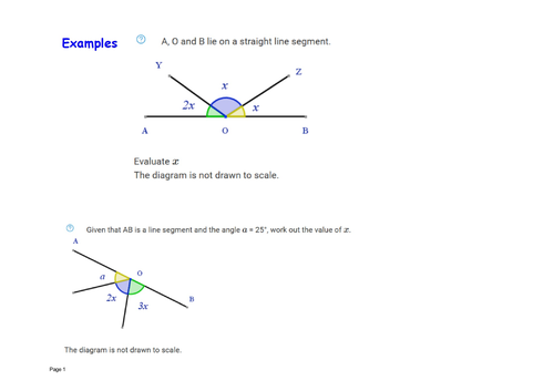 Solving equations angles on a straight line