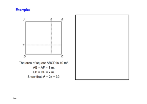 Forming expression area of a square