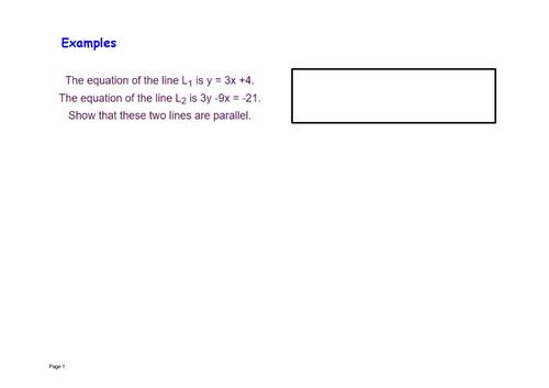 y = mx + c parallel lines