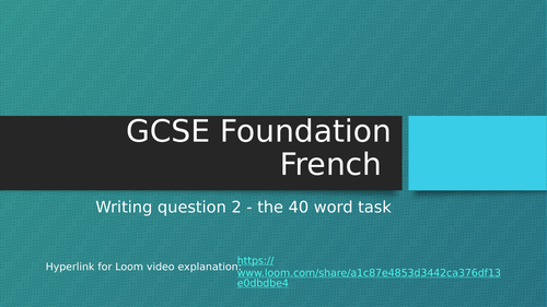 GCSE French Writing Q2  40 word with video link