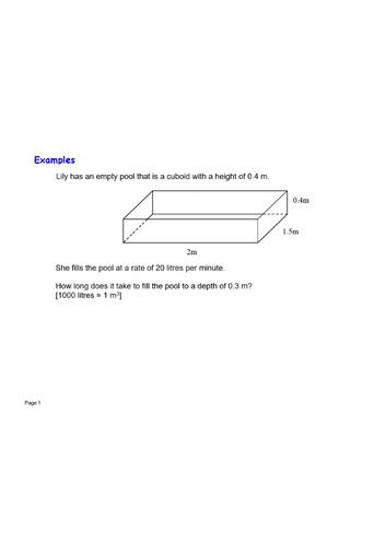 Volume pool fill unit conversion exam question