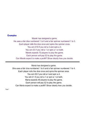 Probability estimate profit exam question