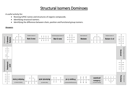 Structural Isomers Dominoes/Card Sort