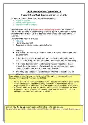 Child Develop Btec Component 1B booklets