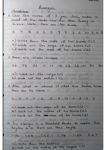 Averages 9-1 GCSE Worksheet & Answers