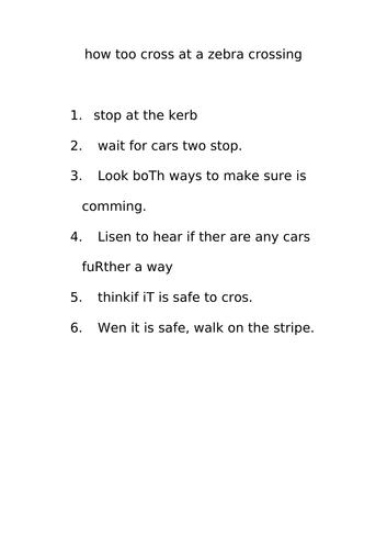 Instruction Writing Proofreading Activity