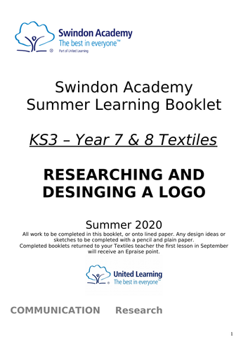 Textiles Year 7 & 8 Home Learning Summer Learning Pack