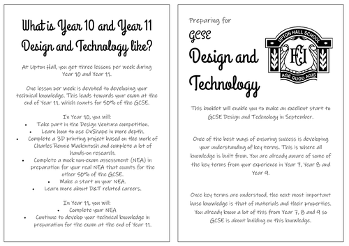 GCSE Design and Technology Transition Booklet