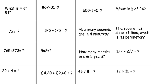 Year 3 mixed PoS Bingo grid