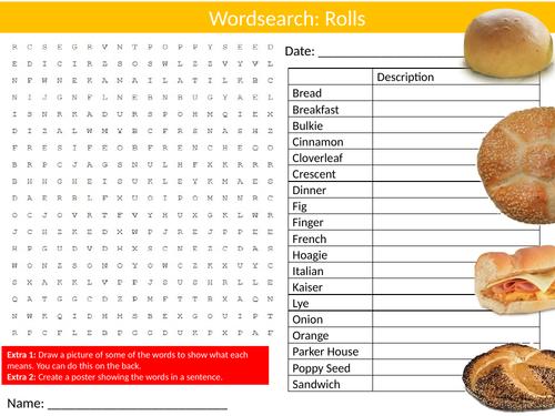 Bread Rolls Wordsearch Sheet Starter Activity Keywords Cover Food Technology Nutrition