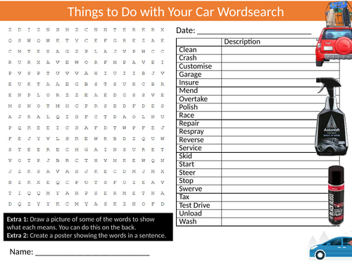 Car Chores Jobs Wordsearch Sheet Starter Activity Keywords Cover Homework Driving