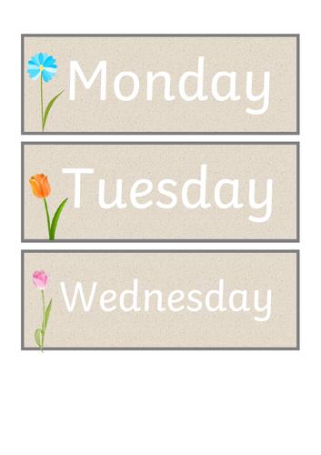 Neutral Days of the Week Display