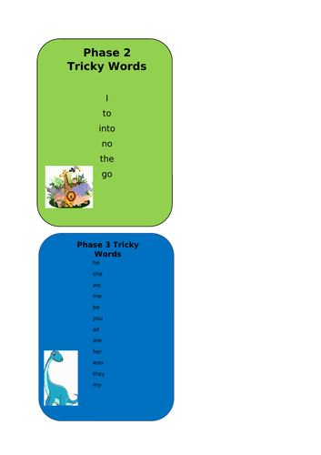Tricky Word Cards (phases 2-5)