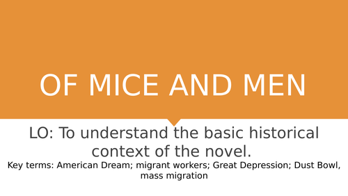 Of Mice and Men: Lesson 1 - context