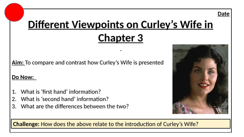 Different Viewpoints of Curley's Wife in Chapter 3