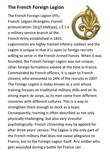 The French Foreign Legion Handout