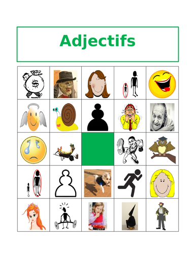 Adjectifs (French Adjectives) Bingo