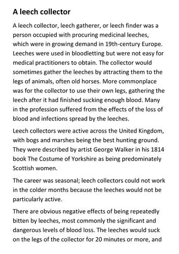Leech Collector Worst Jobs in History Handout