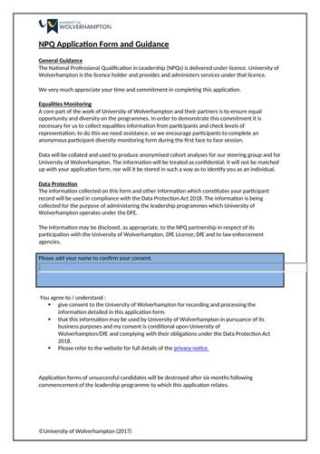NPQH application form exemplar