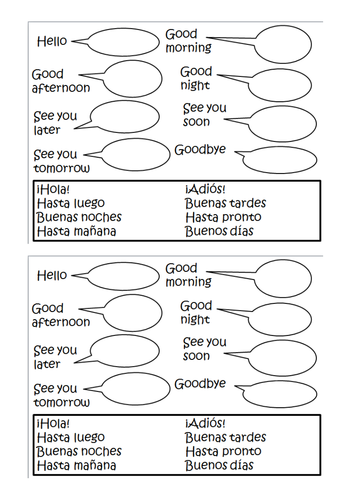 SPANISH GREETINGS WORKSHEET.