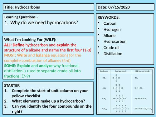 Hydrocarbons C7 Lesson 1