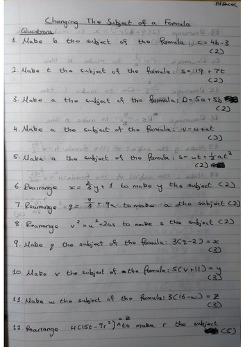 Changing The Subject of a Formula 9-1 GCSE Worksheet & Answers