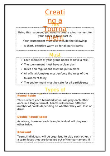 Creating a Tournament