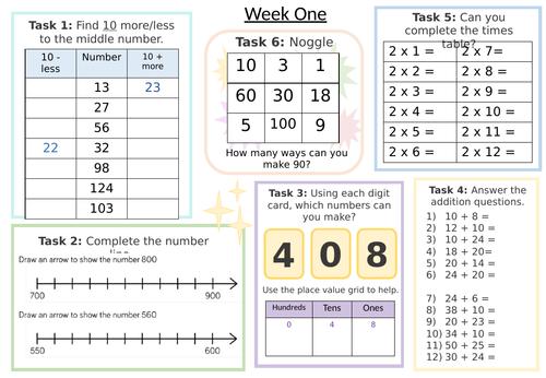 Maths Morning Task Sheets (Autumn Term)