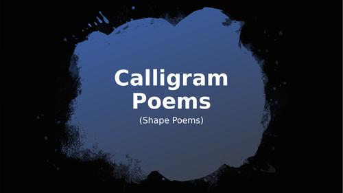 Calligram (Shape) Poems PowerPoint