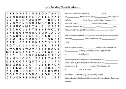Ionic Bonding Cloze Wordsearch